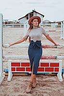 Синяя облегающая юбка миди с завышенной талией, фото 1