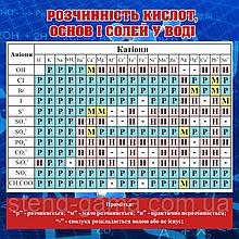 Розчинність кислот основ і солей у воді 100х100 см