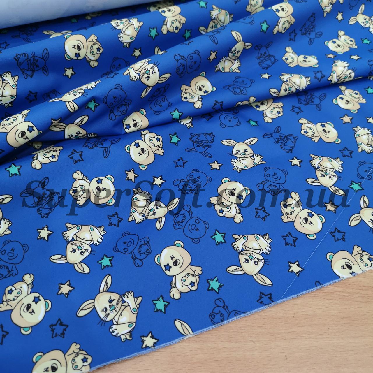 Ткань плащевка канада принт медвежата на синем