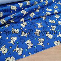 Ткань плащевка канада принт медвежата на синем, фото 1