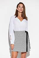 Короткая женская трапециевидная юбка с запахом, фото 1