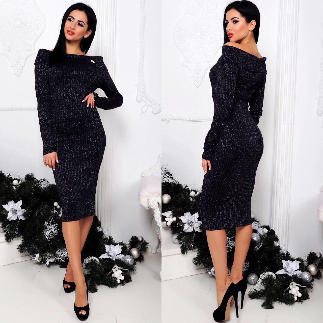 """Изысканное женское платье ткань """"Люрекстрикотаж"""" 42 размер норма"""