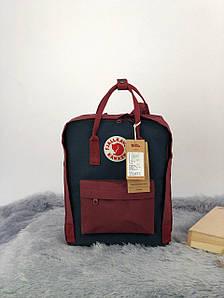 Рюкзак Fjällräven Kanken Classic (бордовый темно-синие вставки)