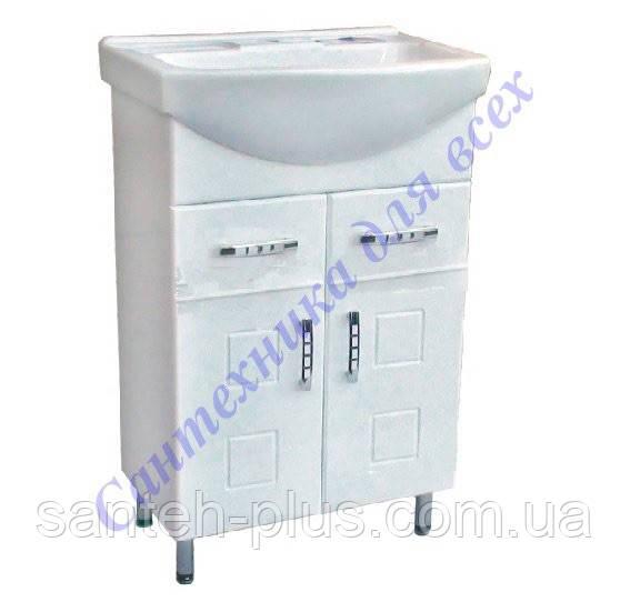 Тумба для ванной комнаты с выдвижными ящиками Кватро Т5 с умывальником-65