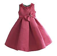 Нарядное однотонное детское платье на 3-8 лет