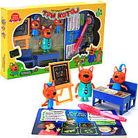 Детский игровой набор фигурок «Три кота идут в школу» + рисуем светом HM-182