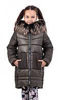 Зимняя куртка для девочки  подростка  32-40 хаки