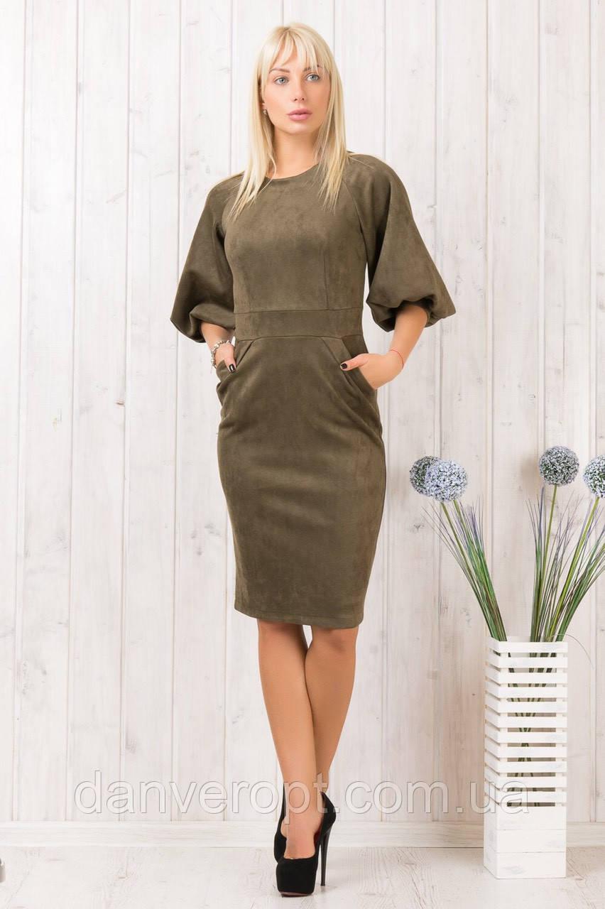 Платье женское модное стильное замша размер 44-48 купить оптом со склада 7км Одесса