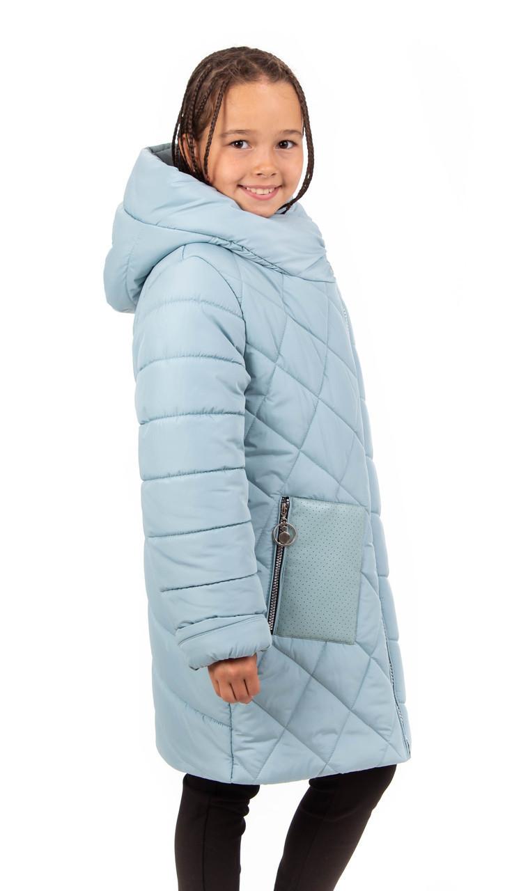 Зимова куртка парку для дівчинки інтернет магазин 34-44 ментол