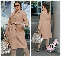 Женское батальное  демисезонное кашемировое пальто. 3 цвета!