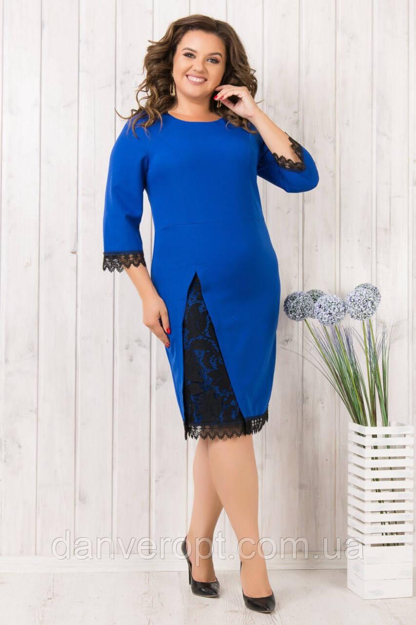 Платье женское модное стильное с гипюром размер 50-56 купить оптом со склада 7км Одесса