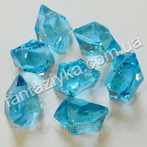 Искусственный лед 25мм ярко-голубой, кристалл для декора