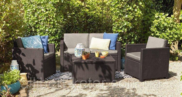 Набор садовой мебели Monaco Set With Storage Table Brown ( коричневый ) из искусственного ротанга
