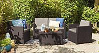 Набор садовой мебели Monaco Set With Storage Table Brown ( коричневый ) из искусственного ротанга, фото 1