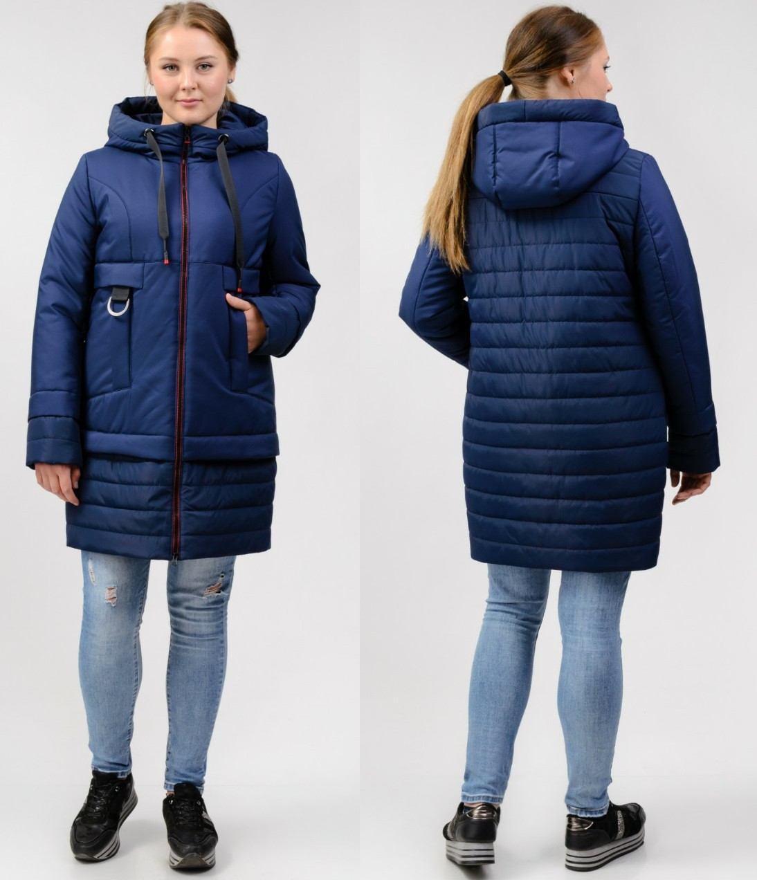 Куртка женская демисезонная стеганая на силиконе (батал), синяя