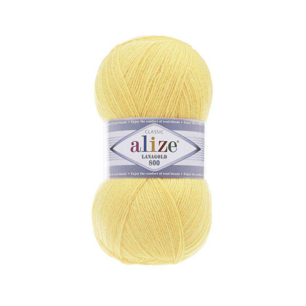 Пряжа Lanagold 800 Alize, №187, лимон
