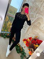 Красивый вязаный костюм с декором из бусин и страз, фото 1