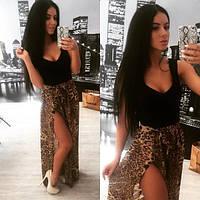 Платье без рукав с леопардовой юбкой