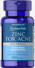 Витамины цинк от прыщей Puritan's Pride Zinc for Acne 100 tab