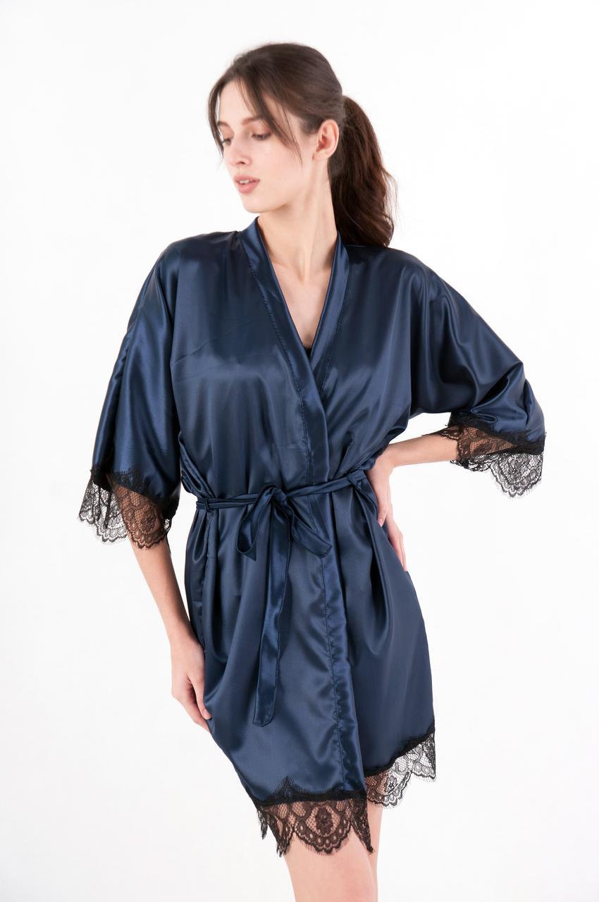 Женский атласный халат темно-синий на запах