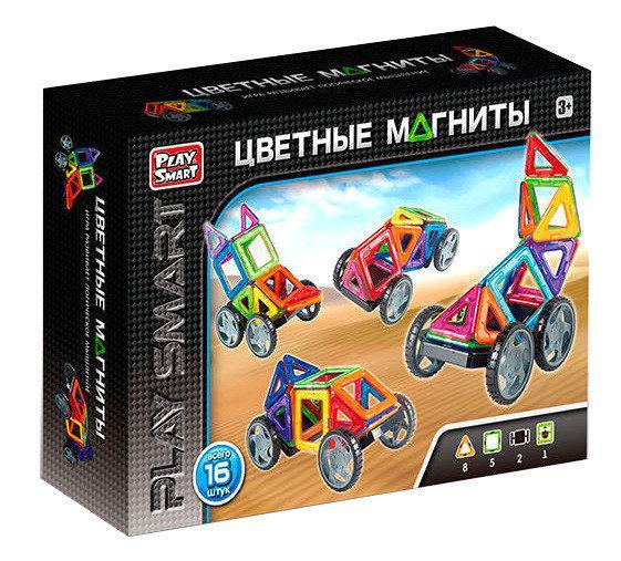 Детский магнитный конструктор Play Smart Цветные магниты 16 деталей 2426