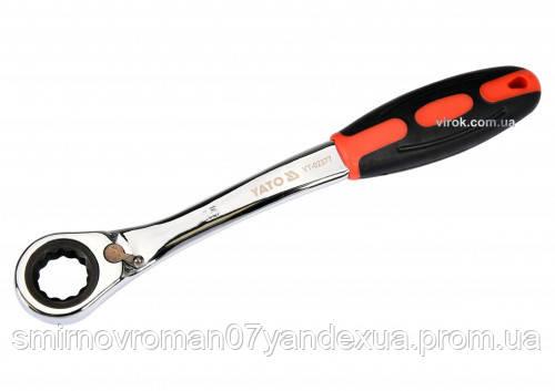 Ключ накидний ,вигнутий з тріскачкою YATO :М 15,HRC 42-48, CR-V з гумової ергономічною ручкою