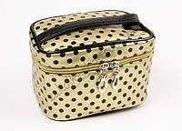 Косметичка чемодан золотистый в черную горошинку