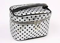 Косметичка чемодан серебристый в черную горошинкe