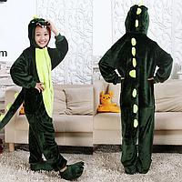 Кигуруми пижама Дракон зеленый детский микрофибра