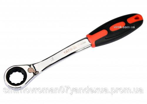 Ключ накидний ,вигнутий з тріскачкою YATO :М 18,HRC 42-48, CR-V з гумової ергономічною ручкою
