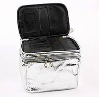 Косметичка чемодан на два отделения со змейками