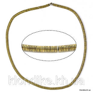 Бусины Гематит Натуральный, рондель, на нити, 4 мм, Цвет: Золото