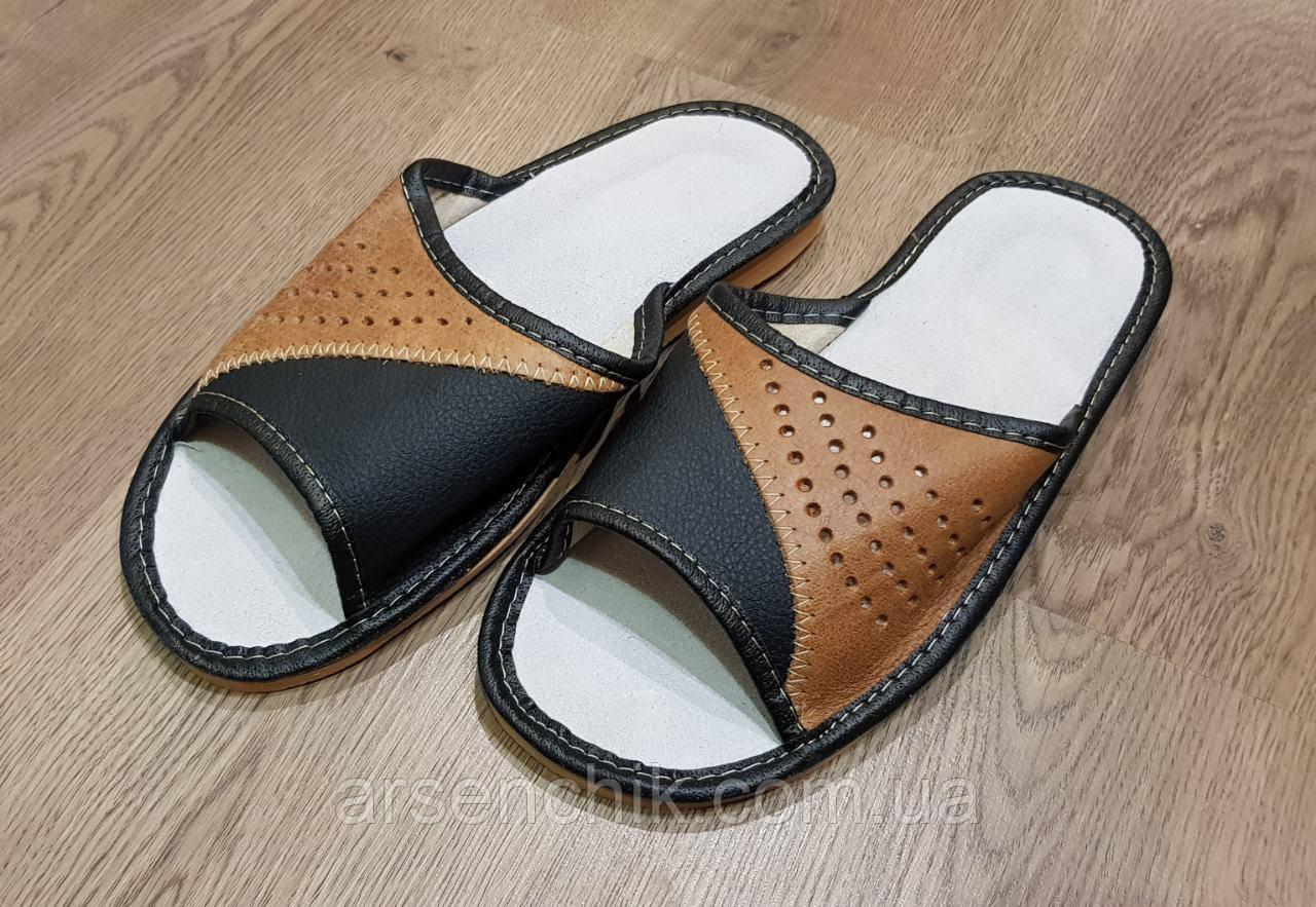 """Домашние кожаные мужские тапочки """"Polmar"""" 40"""