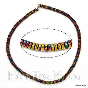 Бусины Гематит Натуральный, рондель, на нити, 6 мм, Цвет: AB Хамелеон