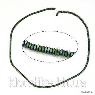 Бусины Гематит Натуральный, рондель, на нити, 3.2×1.2 мм, Цвет: Зелёный