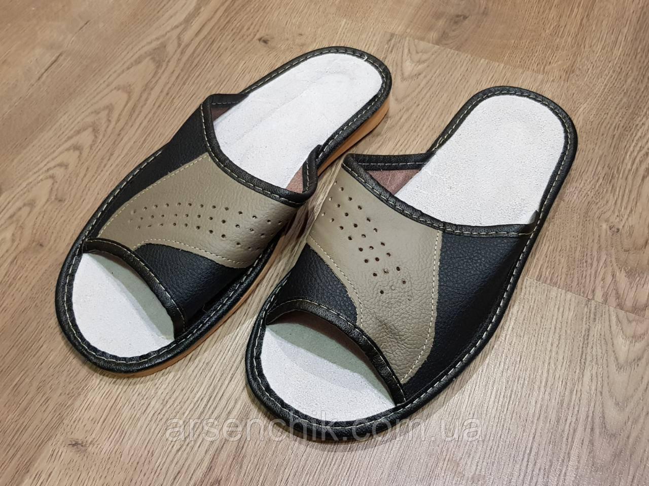 """Домашние кожаные мужские тапочки """"Polmar"""" 45"""