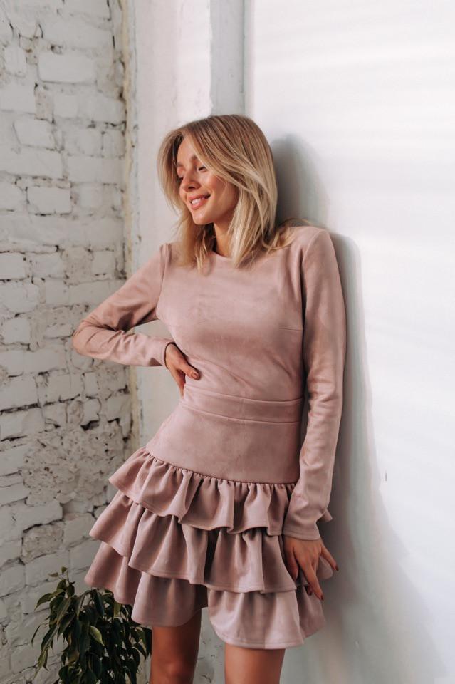 """Платье """"Синди """" Ткань замш на дайвинге Размер XS,S,M. Разные цвета.(20036)"""