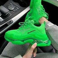 Женские кроссовки в стиле Balenciaga Triple S Clear Sole Green