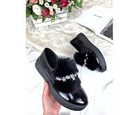 Туфли автоледи лакированные с украшением, фото 1