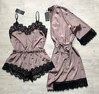 Шелковый комплект халат и пижама с шортиками, одежда для дома