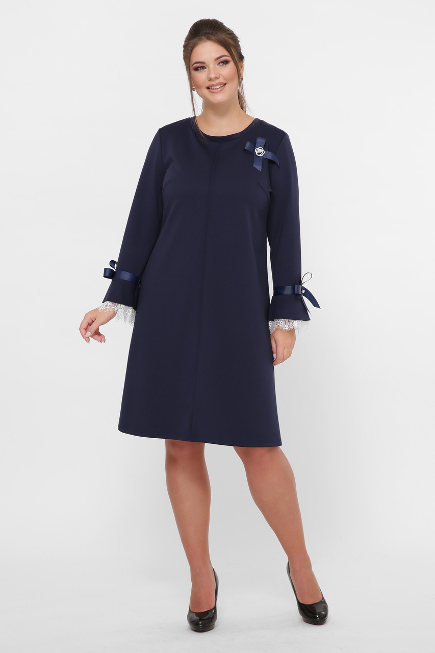 Офисное платье Майя синее