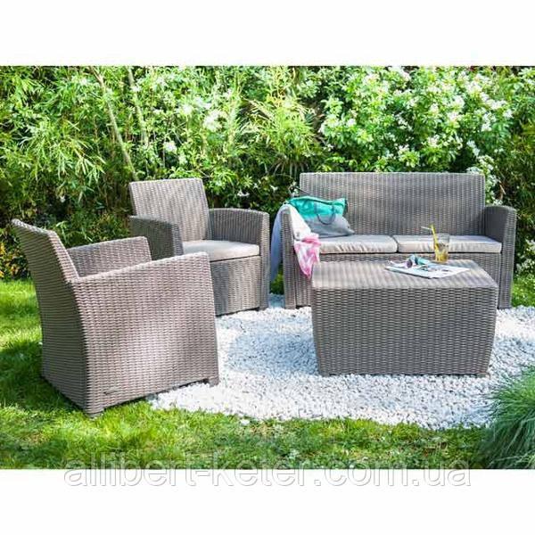 Набор садовой мебели Corona Set With Cushion Box из искусственного ротанга