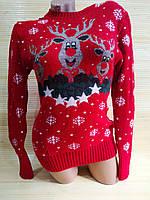 Теплый свитер с оленем красный Турция, фото 1