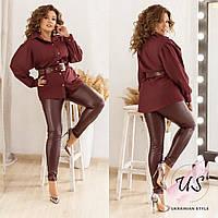 Оригинальный батальный женский костюм с кожаными леггинсами. 3 цвета!, фото 1