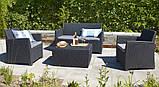 Набор садовой мебели Corona Set With Cushion Box Graphite ( графит ) из искусственного ротанга, фото 5