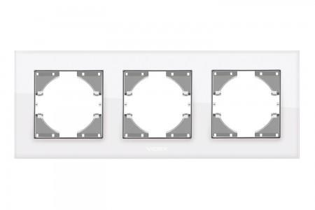 Рамка белое стекло 3 поста горизонтальная Videx binera (vf-bnfrg3h-w)