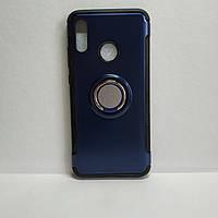 Чехол Xiaomi Redmi Note 5, 5 Pro, с кольцом-подставкой и магнитной пластиной, темно синий