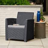 Набор садовой мебели Corona Set With Cushion Box Graphite ( графит ) из искусственного ротанга, фото 2