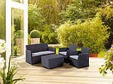 Набор садовой мебели Corona Set With Cushion Box Graphite ( графит ) из искусственного ротанга, фото 3