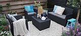 Набор садовой мебели Corona Set With Cushion Box Graphite ( графит ) из искусственного ротанга, фото 4